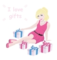 Blonde girl and gift box with text vector image