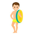 boy with inflatable ring vector image vector image