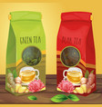 bright paper packaging for tea hand drawn vector image vector image