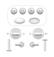Button Set White vector image