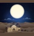 caravan of camels in sahara vector image vector image