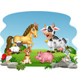 cartoon farm animals with nature background vector image vector image