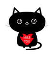 cute black cat icon holding red heart miss you vector image vector image