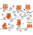 cute owls on the branch vector image vector image