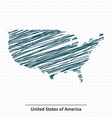 Doodle sketch of United States of America map vector image vector image