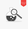 Flask and magnifying glass icon research lab vector image