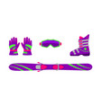 flat skiing equipment - ski boot goggles gloves vector image vector image