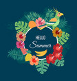 floral summer background with tropical leaves vector image vector image