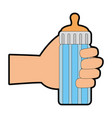 hand human with bottle baby vector image vector image