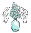 hand witch with fire mystic character alchemy vector image