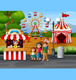 happy family in the amusement park vector image vector image