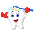 Happy tooth cartoon brushing vector image vector image