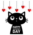 happy valentines day cat looking at red heart set vector image vector image