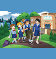 injured kid walking home from school on crutches vector image vector image