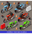 Isometric Flat 3d Vehicle Bikers Set vector image vector image