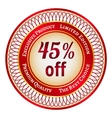 Label on 45 percent discount vector image vector image