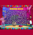 labyrinth maze game on shapito circus background vector image
