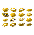 lips - gold icon of kiss print with gold shimmer vector image vector image