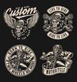 motorcycle vintage monochrome emblems vector image vector image