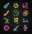neon space icons set in thin line style vector image