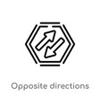 outline opposite directions icon isolated black vector image vector image