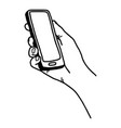 right hand holding smartphone vector image vector image