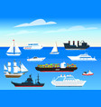 sea ships background set sailboats and cargo vector image