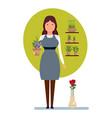 seller in flower shop holds in hands pot flower vector image vector image