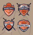 set basketball logo design for apparel vector image