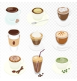 set different coffee cup and many kinds vector image