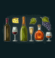 set drinks made from grapes wine brandy vector image vector image