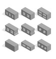 set of isometric cinder blocks vector image vector image