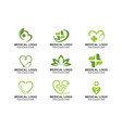 set of medical healthcare stethoscope cross logo vector image