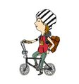 Side view of girl sitting on bicycle vector image vector image