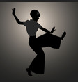 silhouette of girl wearing wide trousers dancing vector image vector image