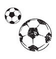 Soccer ball in two variants on white background