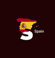 spain initial letter country with map and flag vector image