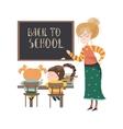 teacher blackboard with pupils vector image