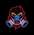 toxic gorilla head vector image vector image