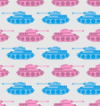 Toy tank seamless pattern Blue and pink military vector image vector image