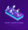 vr sport competition isometric composition vector image vector image