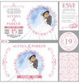 Wedding invitation setKissing BridegroomPink vector image vector image
