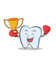winner tooth character cartoon style vector image vector image