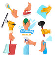 womens hands with different tools for cleaning vector image
