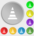 road cone icon Symbols on eight flat buttons vector image
