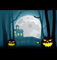silhouette of a house in the dark scary woods vector image