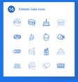 16 cake icons vector image vector image