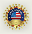 a round emblem of a golden color with a reflection vector image vector image