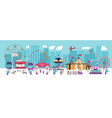 amusement park with various attractions circus vector image