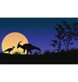 At night parasaurolophus silhouette with moon vector image vector image